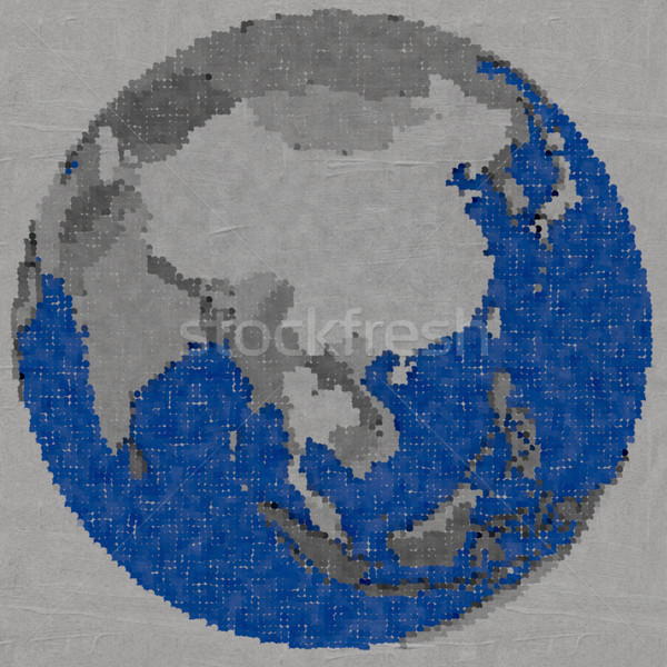 Drawing of southeast Asia on Earth Stock photo © Harlekino