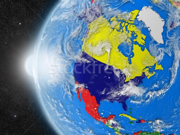 Norte americano continente espacio planeta tierra político Foto stock © Harlekino