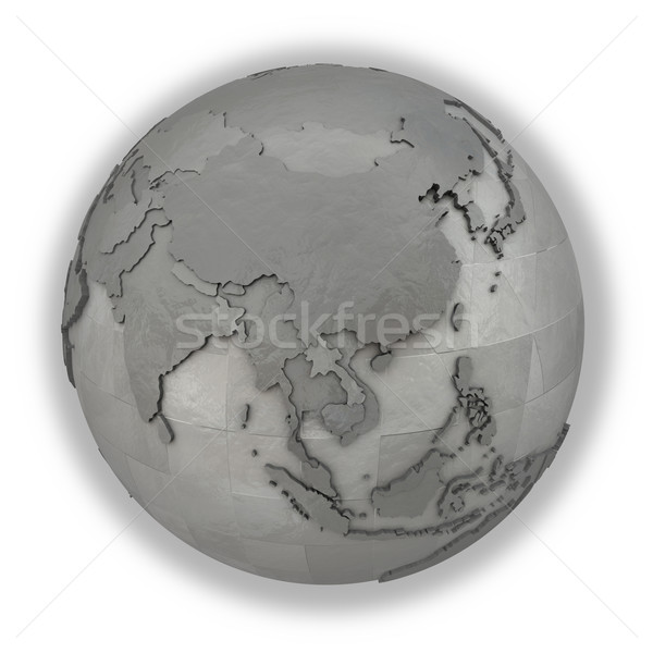 Southeast Asia on metallic planet Earth Stock photo © Harlekino