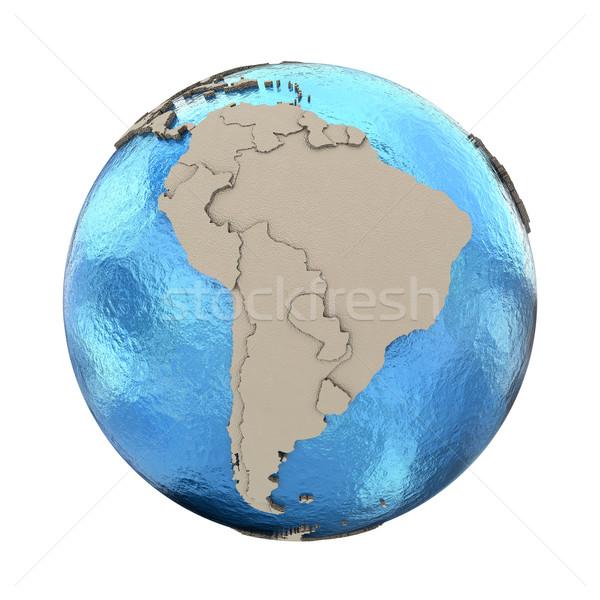 Güney amerika model dünya gezegeni 3D mavi toprak Stok fotoğraf © Harlekino
