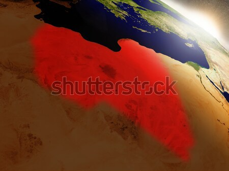 Libya from space highlighted in red Stock photo © Harlekino