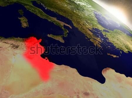 チュニジア スペース 赤 軌道 3次元の図 ストックフォト © Harlekino