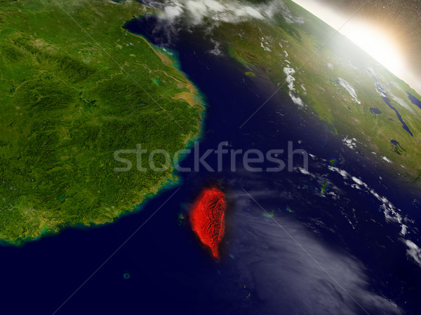 Taiwan from space highlighted in red Stock photo © Harlekino