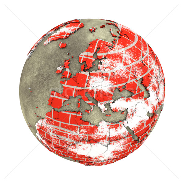 Europe on brick wall Earth Stock photo © Harlekino