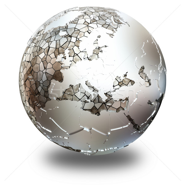 Europe on translucent Earth Stock photo © Harlekino