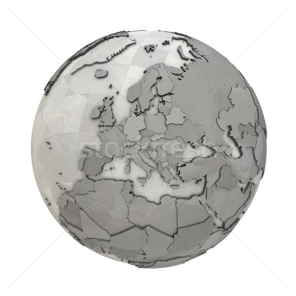 Europe on metallic planet Earth Stock photo © Harlekino