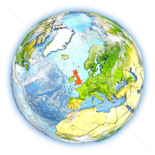 Verenigd Koninkrijk aarde geïsoleerd Rood aarde 3d illustration Stockfoto © Harlekino
