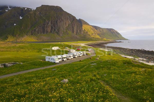 島々 ノルウェー 人気のある スポット を見て 真夜中 ストックフォト © Harlekino