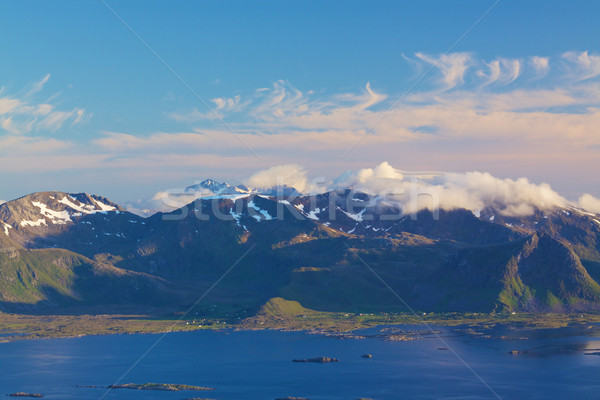 Schilderachtig kustlijn eilanden Noorwegen klein vissen Stockfoto © Harlekino