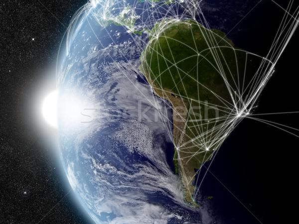 Hálózat dél-amerika levegő forgalom elemek kép Stock fotó © Harlekino