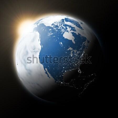Sun over North America on planet Earth Stock photo © Harlekino