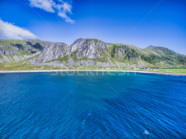 живописный Норвегия пляж деревне Сток-фото © Harlekino