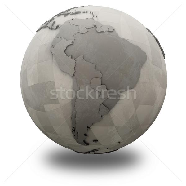 Южной Америке металлический планете Земля 3D модель стали Сток-фото © Harlekino