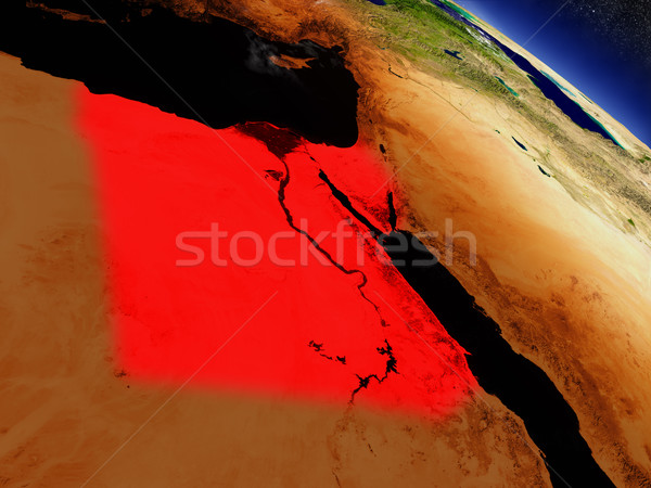 Egypt from space highlighted in red Stock photo © Harlekino