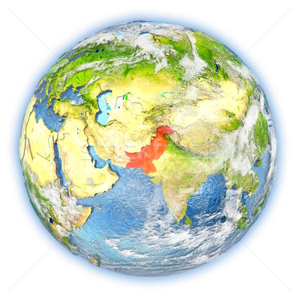 Pakistan toprak yalıtılmış kırmızı dünya gezegeni 3d illustration Stok fotoğraf © Harlekino