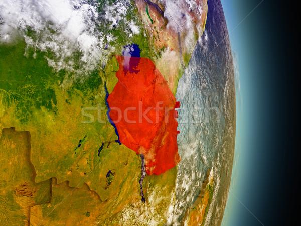 Tanzania czerwony przestrzeni model orbita 3d ilustracji Zdjęcia stock © Harlekino