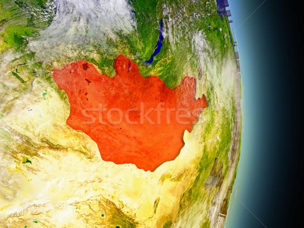 Mongolia in red from space Stock photo © Harlekino