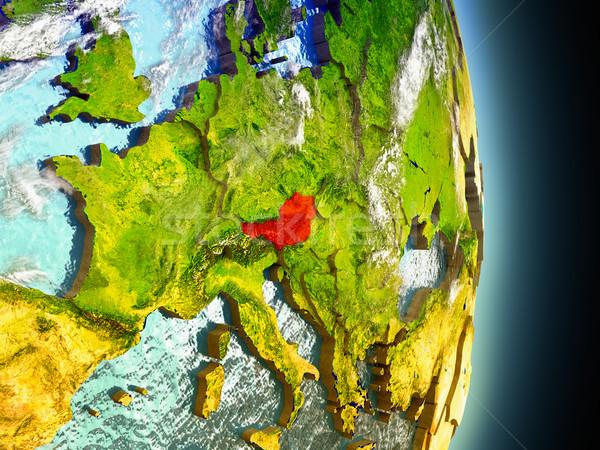 Austria in red from space Stock photo © Harlekino