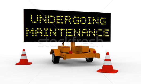 Onderhoud zwarte top winkelwagen gezegde teken Stockfoto © Harlekino