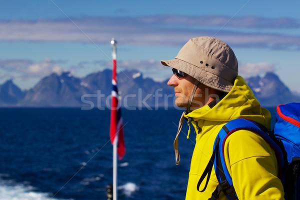 Panorama genç sırt çantası Norveç manzara Stok fotoğraf © Harlekino