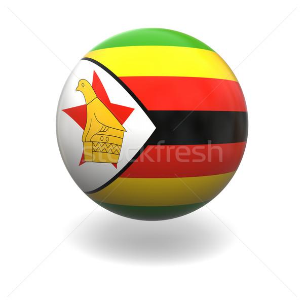Zimbabwe zászló gömb izolált fehér Stock fotó © Harlekino