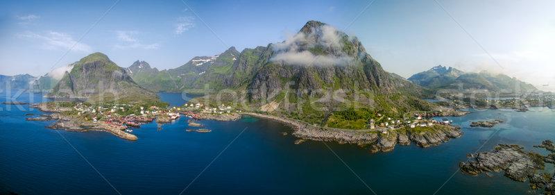 絵のように美しい ノルウェー 風光明媚な パノラマ 伝統的な 釣り ストックフォト © Harlekino