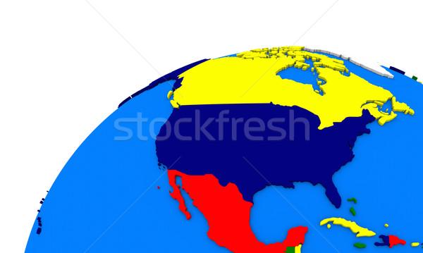 Nord Amérique terre politique carte monde Photo stock © Harlekino