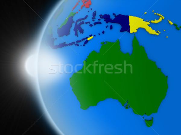 Gün batımı avustralya kıta uzay dünya gezegeni siyasi Stok fotoğraf © Harlekino