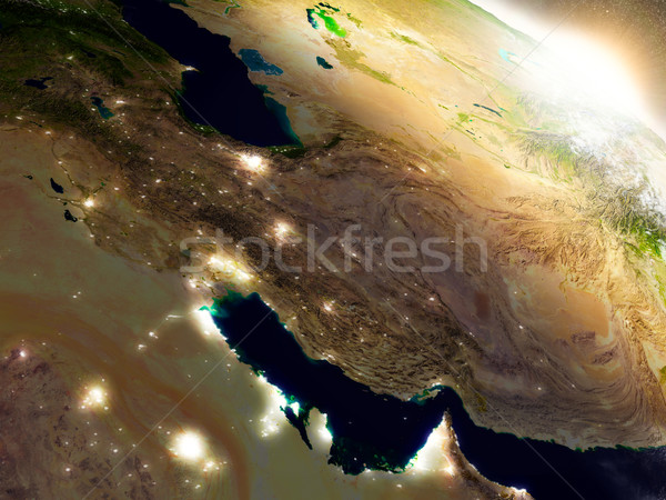 Stock photo: Iran from space during sunrise
