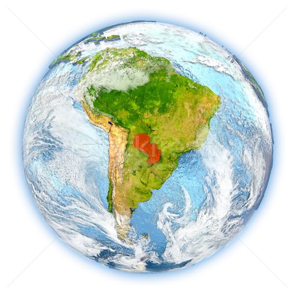パラグアイ 地球 孤立した 赤 地球 3次元の図 ストックフォト © Harlekino