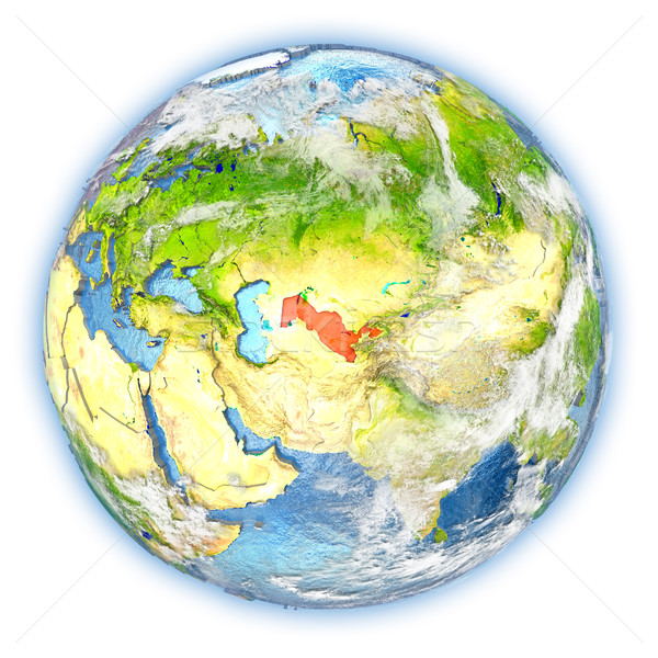 Uzbekistan on Earth isolated Stock photo © Harlekino