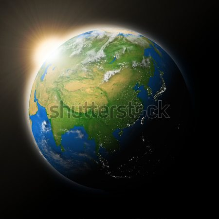 Sun over Southeast Asia on planet Earth Stock photo © Harlekino