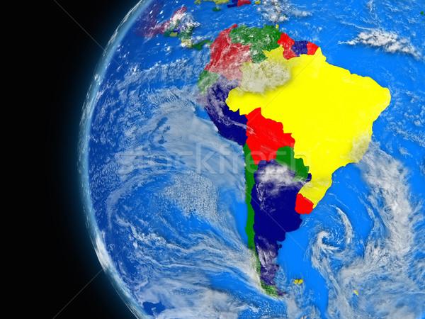 Dél-amerikai földrész politikai földgömb illusztráció atmoszferikus Stock fotó © Harlekino