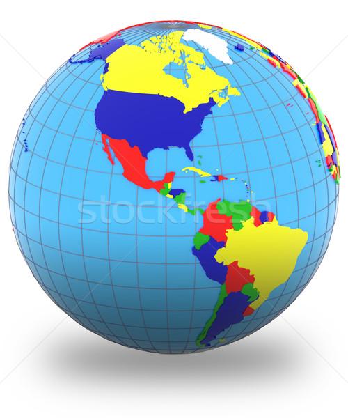 Föld politikai térkép világ országok négy Stock fotó © Harlekino