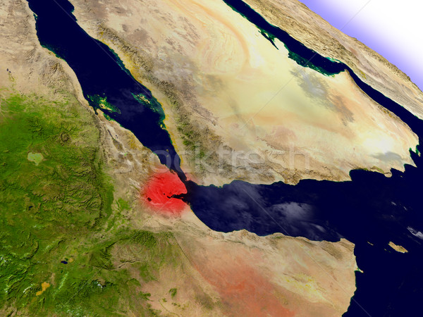 Djibouti from space highlighted in red Stock photo © Harlekino