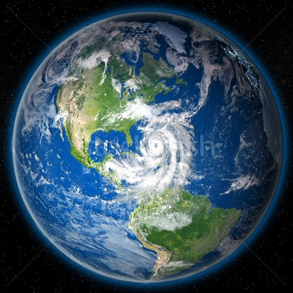 Foto stock: Furacão · globo · enorme · costa · Flórida · ilustração · 3d