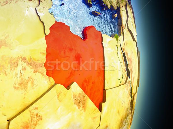 Libia czerwony przestrzeni model orbita 3d ilustracji Zdjęcia stock © Harlekino