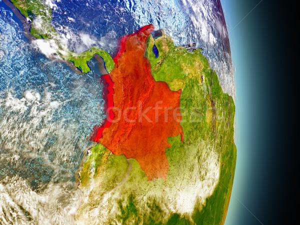 Колумбия красный пространстве модель орбита 3d иллюстрации Сток-фото © Harlekino