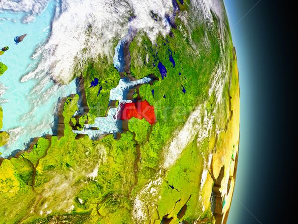 Letland Rood ruimte model 3d illustration Stockfoto © Harlekino