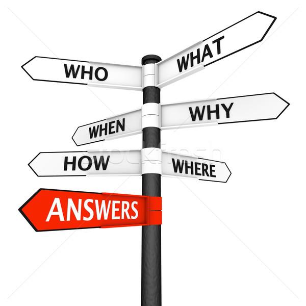 Domande risposte cartello segno direzione Foto d'archivio © Harlekino