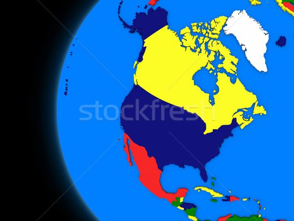 észak amerikai földrész politikai Föld illusztráció Stock fotó © Harlekino