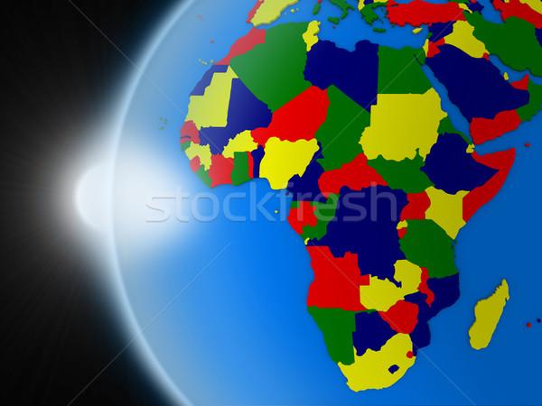 Pôr do sol africano continente espaço planeta terra político Foto stock © Harlekino