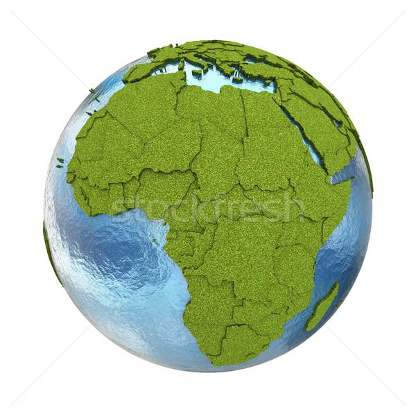 Afrika dünya gezegeni 3D model çimenli kıtalar Stok fotoğraf © Harlekino