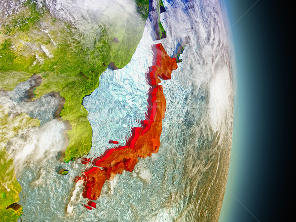 Japan in red from space Stock photo © Harlekino