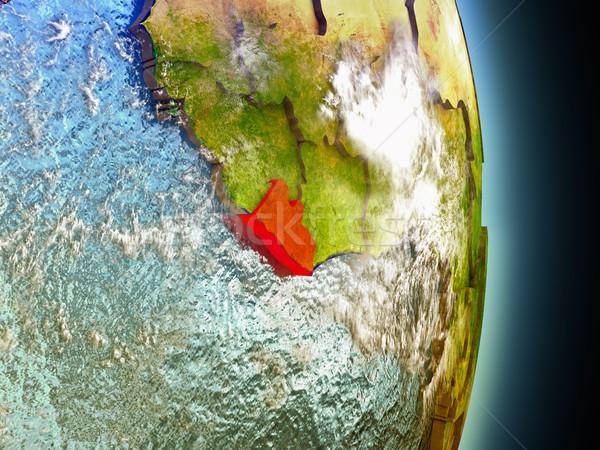 Liberia in red from space Stock photo © Harlekino
