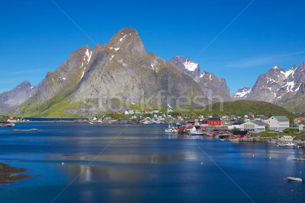 Norwegian fishing town Stock photo © Harlekino