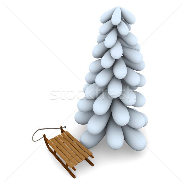 Choinka sanki biały odizolowany drzewo śniegu Zdjęcia stock © Harlekino