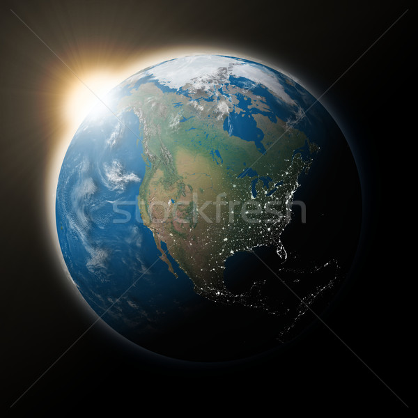 Stock photo: Sun over North America on planet Earth