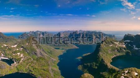 Panoráma lélegzetelállító légi szigetek Norvégia híres Stock fotó © Harlekino