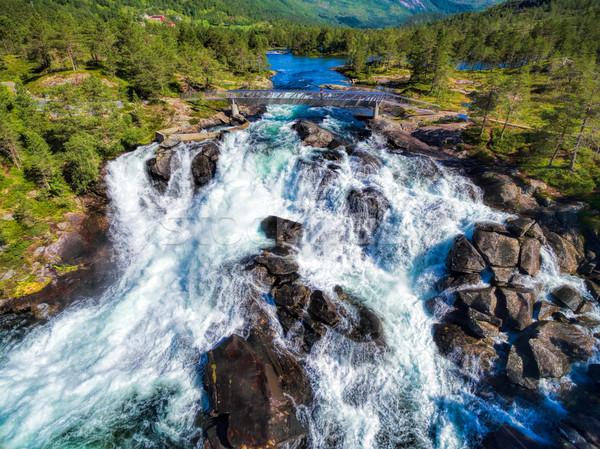 Likholefossen waterfall in Norway Stock photo © Harlekino